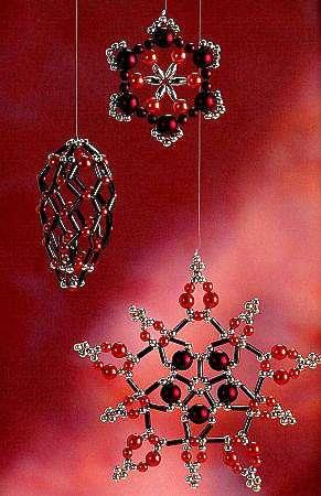 Новогодние снежинки, ангелы, снеговики, звезды из бисера