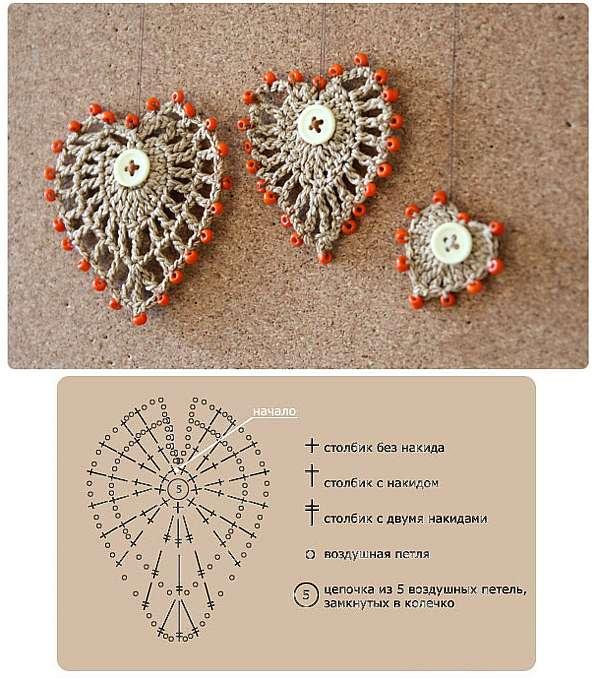 Как связать крючком сердце