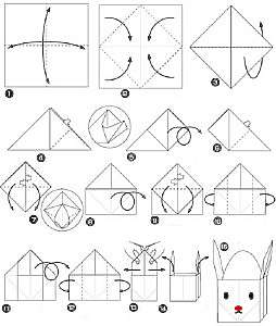 Пасхальный заяц из бумаги в технике оригами