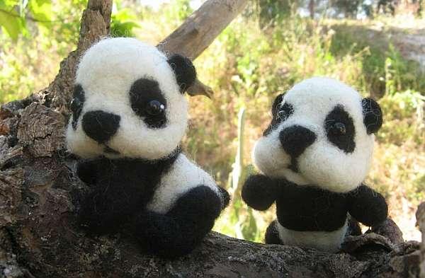 Валяем панду из шерсти — мастер класс
