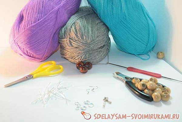 Вязаные украшения: комплект из вязаных бусин