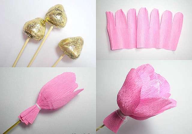 Сделать цветок с конфетами из бумаги своими руками