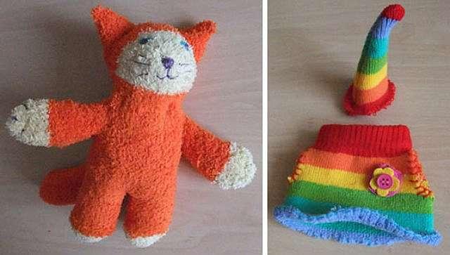 Как сделать кота, кошку и котенка из носка