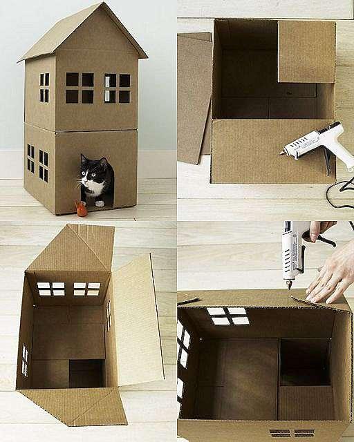 Сделать домик из коробки или картона своими руками фото 44