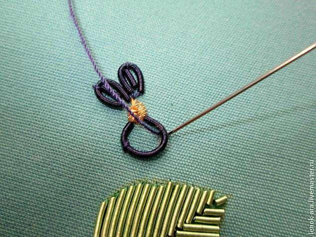 Мастер-класс: Вышивка фиалки канителью