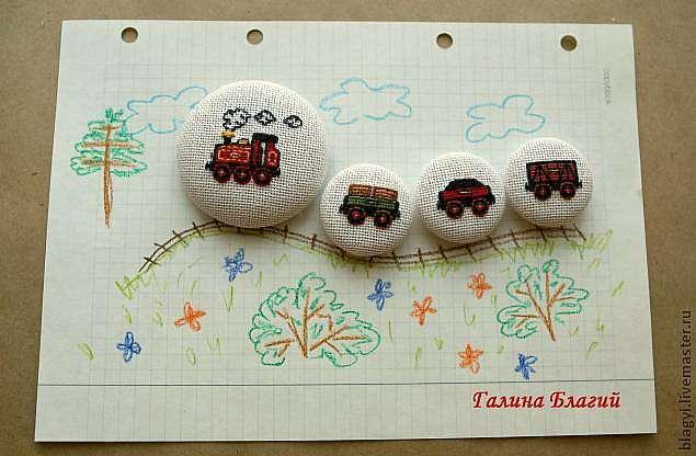 Магнитный поезд (или как украсить магнит вышивкой)