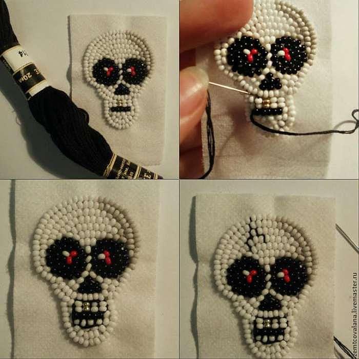 """Как сделать серьги """"Halloween skull"""""""