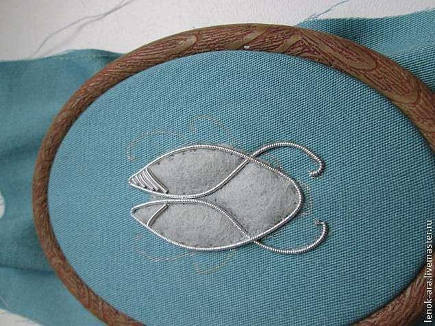 Вышиваем насекомое канителью