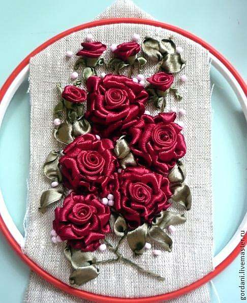 Вышивка розы лентами своими руками