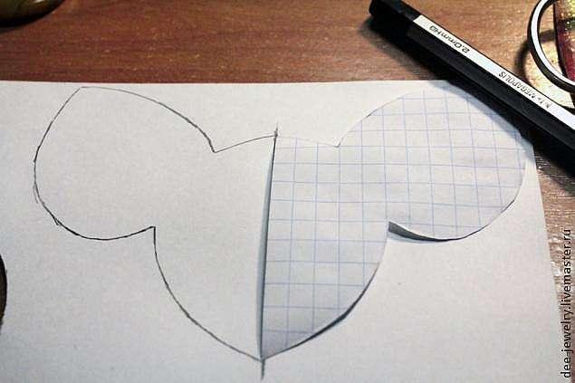 Симметричная выкройка для вышивки на примере колье, мастер-класс