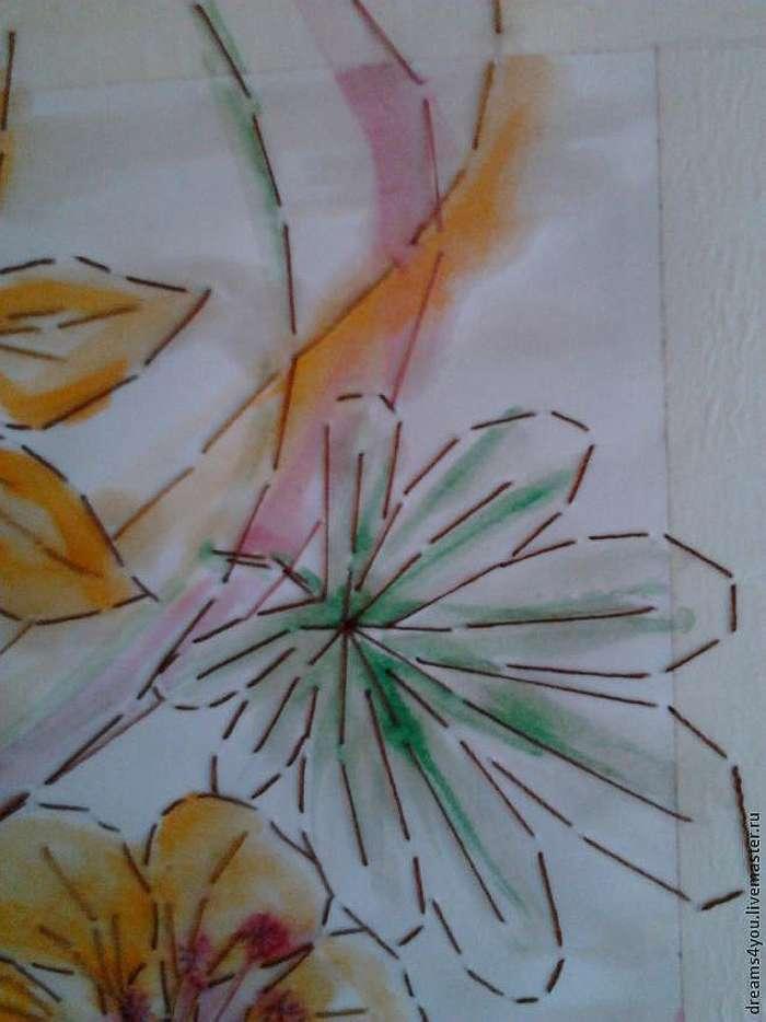 Декорирование бумажной упаковки вышивкой и акварелью