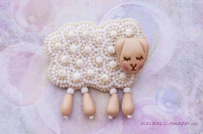 Делаем брошку-овечку