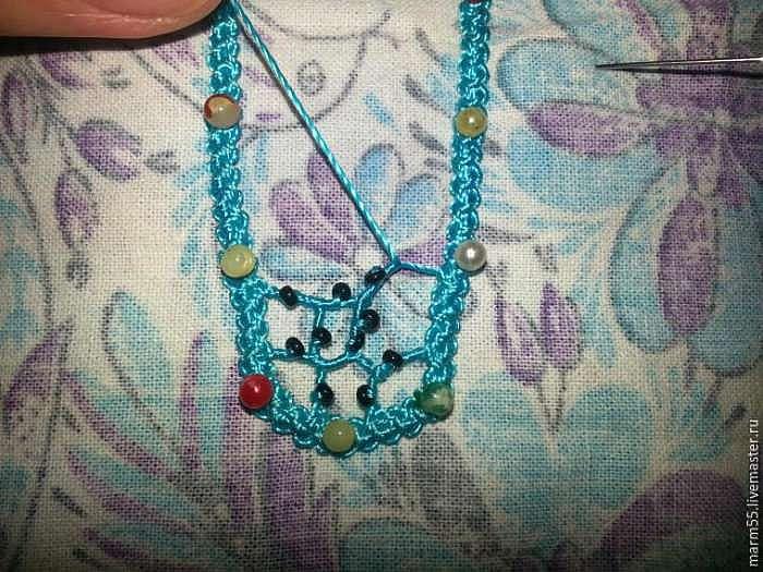 Осваиваем игольное кружево: плетем нерегулярную сеточку с бисером