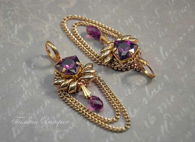 Мастер-класс: вышитые серьги «Королевский пурпур»