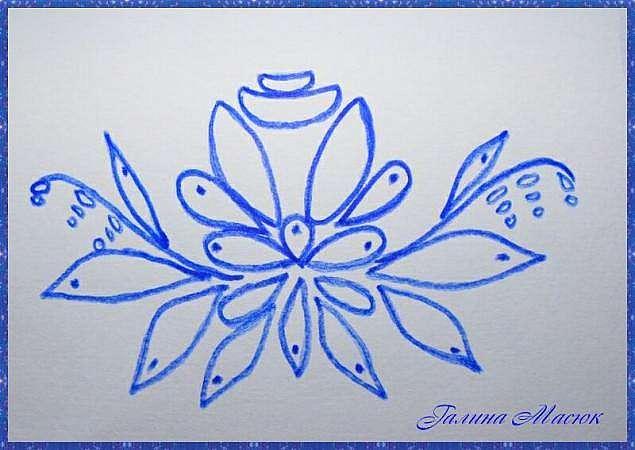 Вышивка лентами. Элемент гжельской росписи - роза