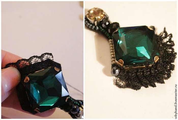 """Создаем серьги с кружевом """"Emerald luxury"""""""