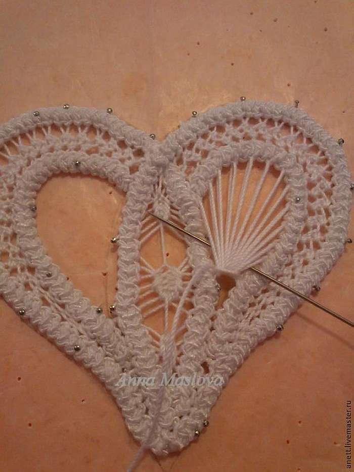 МК: Валентинка в технике румынского кружева