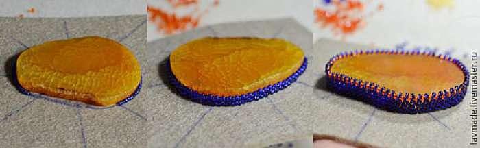 Вышиваем кулон с плетеными элементами