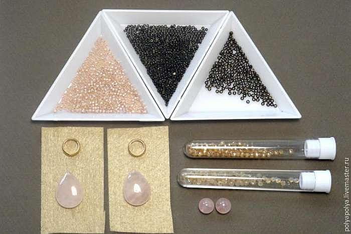 Создаем серьги с бусинами из розового кварца