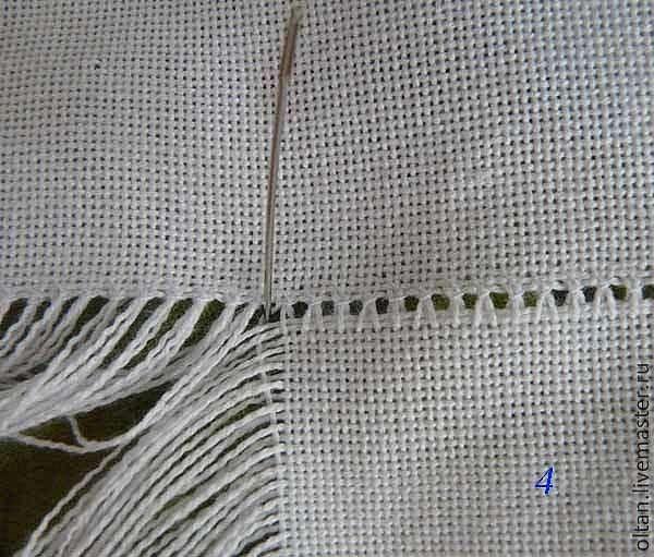 Как  быстро вытрепать нитки для брахромы рушника