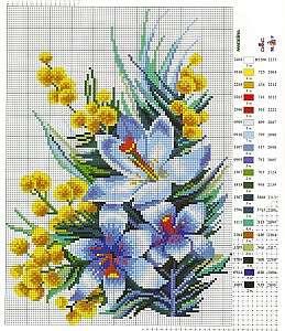Схемы для вышивки цветочных композиций крестиком