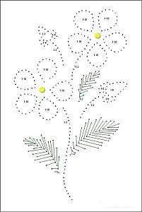 Учимся вышивать цветы изонитью по схемам с цифрами