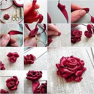 Учимся вышивке разных видов роз атласными лентами