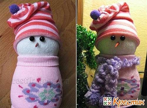 Как сделать снеговика из носков своими руками фото