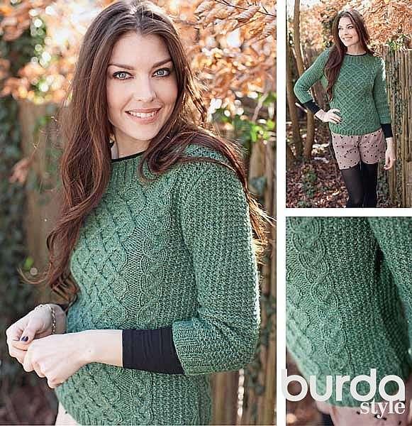 Пуловер с решетчатым узором