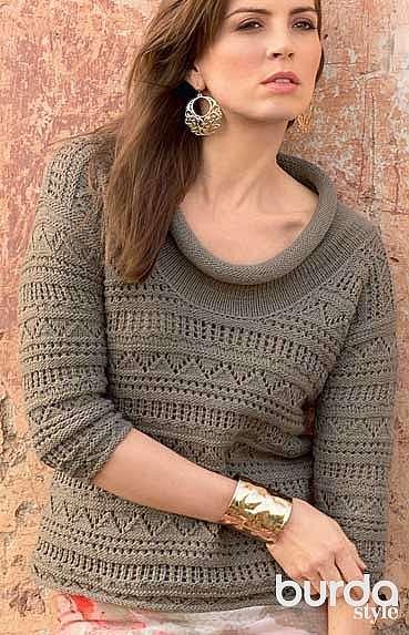 Ажурный пуловер с широким воротником