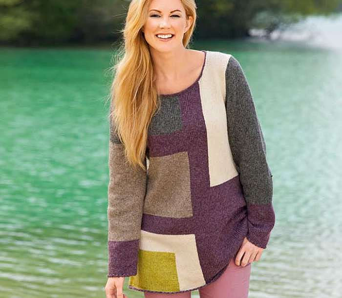 Пуловер с узором «пэчворк»