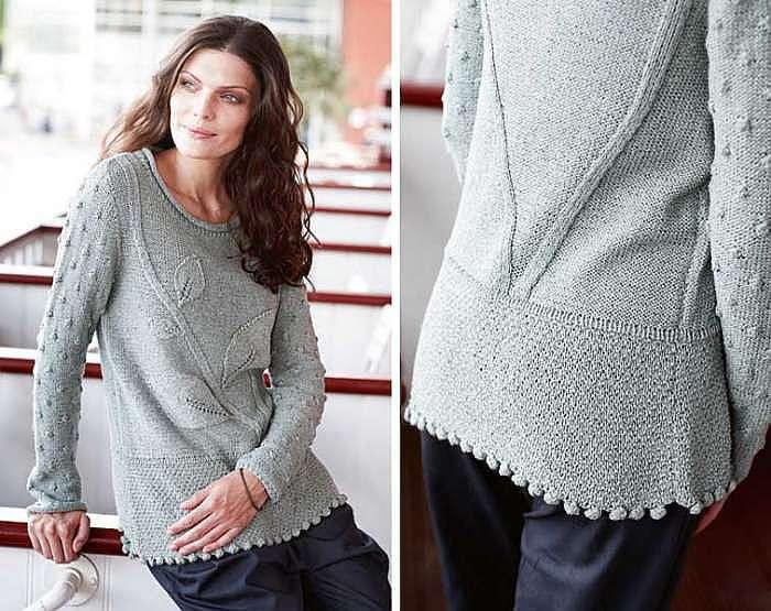 Пуловер с растительным узором