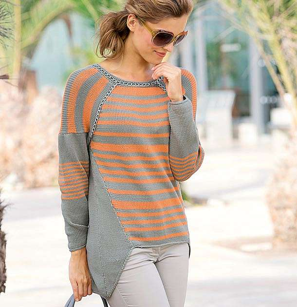 Пуловер со сложным кроем