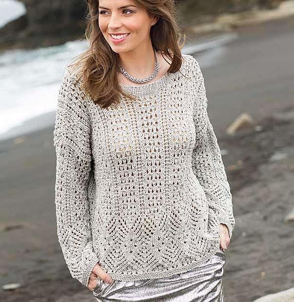 Пуловер-оверсайз с ажурным узором