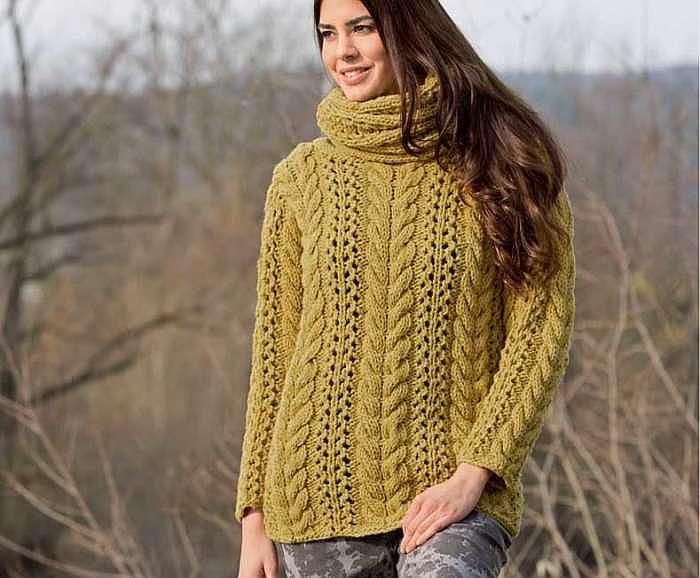 Пуловер горчичного цвета