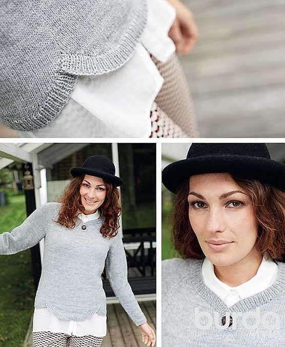 Пуловер с фестонным краем