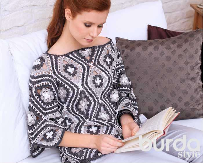 Пуловер из цветочных ромбов