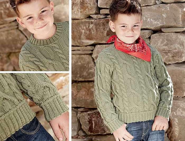Пуловер для мальчика с узором из «кос»