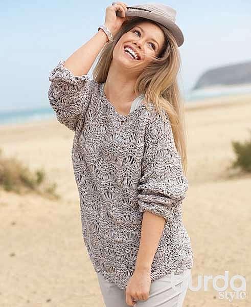Серебристо-серый пуловер