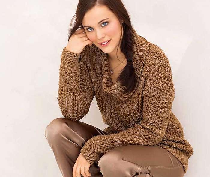 Пуловер с широким горлом