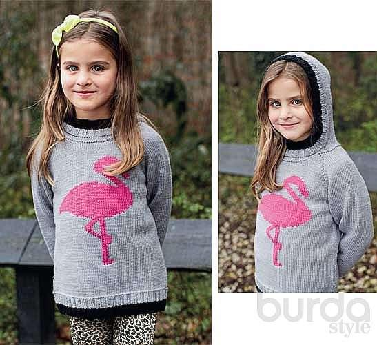 Детский пуловер с розовым фламинго