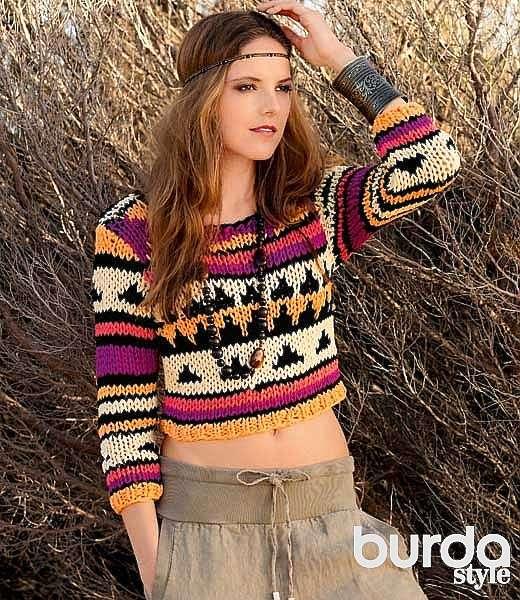 Укороченный пуловер с жаккардовым рисунком