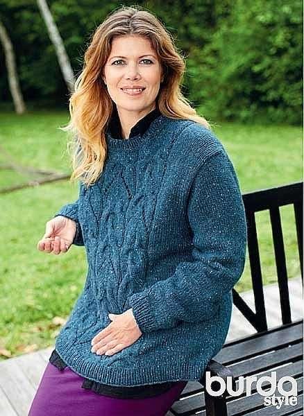 Пуловер с косами Plus size