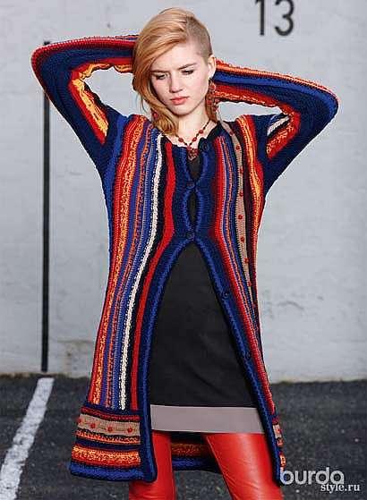 Разноцветное пальто