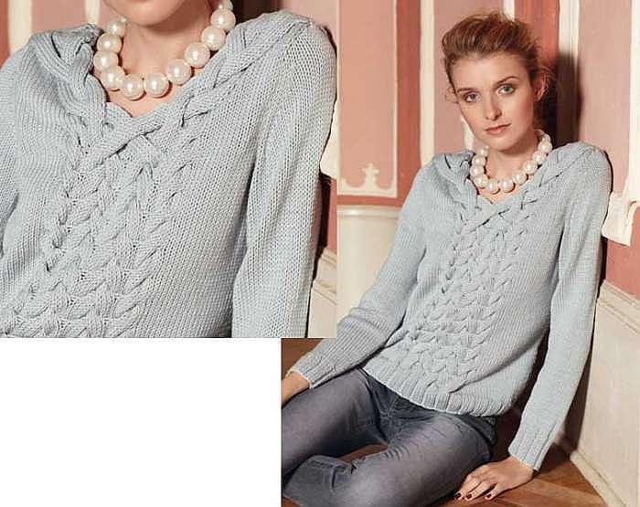 Пуловер с переплетением кос