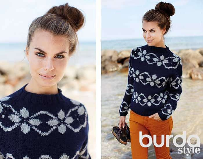 Пуловер с фарерскими узорами