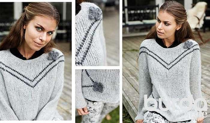 Пуловер с вязаными цветами