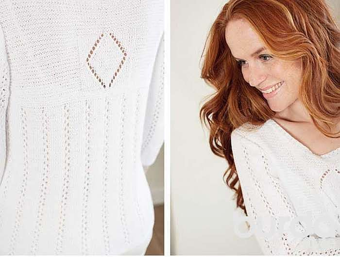 Пуловер с ажурными полосками и ромбами