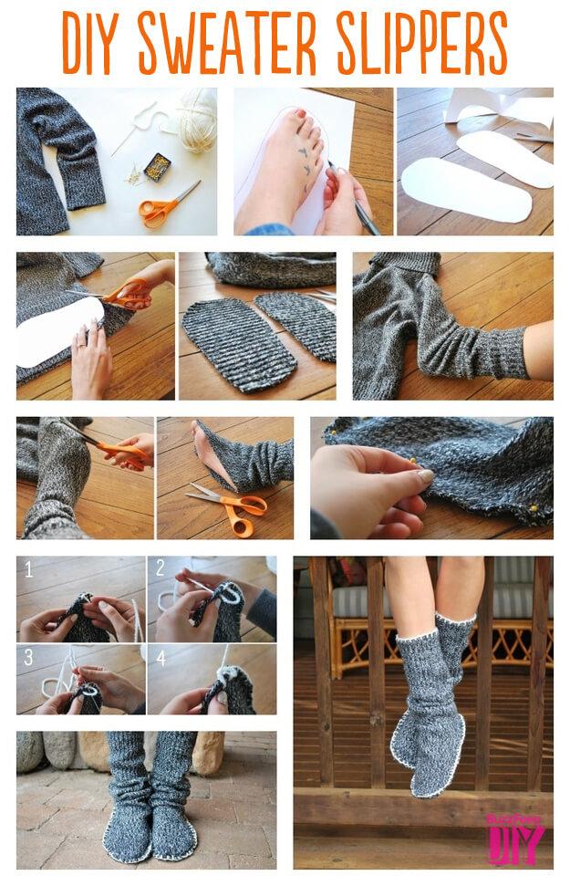 Способ второй — Как сшить домашние тапочки из свитера