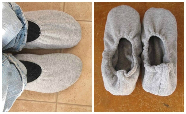 Восьмой способ — как сшить тапочки из свитера(второй вариант).